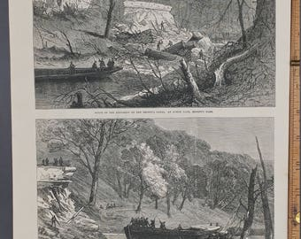 Scene of the Explosion on the Reagent's Canal, at North Gate, Regents Park 1874. Barge Sunk by Explosion Large Antique Engraving,About 11x16