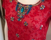 Red & White Floral 2 Piec...
