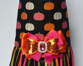 Dog Harness Vest - Halloween Dog Harness - Pumpkin Dog Harness - Halloween Dog Dress - Fall Dog Harness