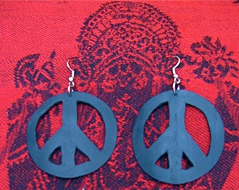 Recycled bicycle tire inner tube earrings, Peace sign black hoop earrings, Recycled rubber earrings