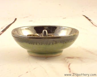 Ceramic Ring Dish - Ring Drop - Stoneware Jewelry Tree - Antique Silver and Celadon - Mothers Day Gift - Bureau Item - Ready to Ship v633