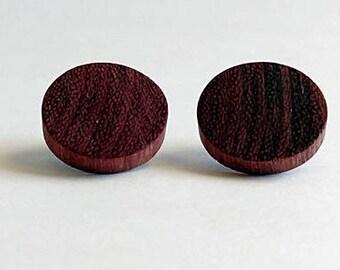 Purpleheart Wooden Earrings, Stud Earrings, Natural Earrings, Exotic Wood, Eco Jewelry, Round Earrings, Unique,