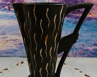 Ceramic  vase, vintage vase, black vase, old vase