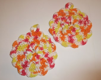 crochet potholders, cotton potholders, kitchen decor