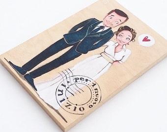 DILISA Personalized wedding portrait, newlyweds illustration, just married decoration for celebrated you