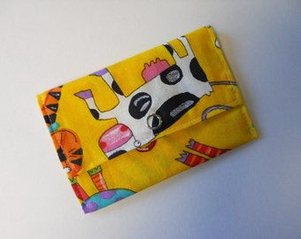 Fabric Business Card Wallet or Gift Card Holder in Crazy Animals Print