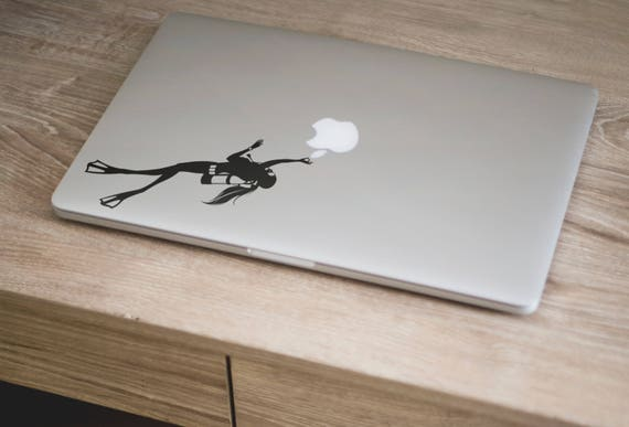 Girl Scuba Diver decal for Macbook and other Laptops, Mac, Diving Decals, Laptop Sticker, Divers, wetsuit, Submarine World, Undersea