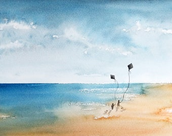 Flying kites at the beach - landscape, kids, seascape: watercolor, wall art, art print