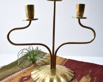 Vintage Brass Candelabra/3 Candles/Made in Italy/Hammered Brass/Modern/MCM/Danish