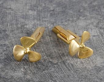 Gold Propeller Cufflinks, Fathers Day Cufflinks, Nautical Cufflinks, Gold Cufflinks, Mens Accessories, Modern Cufflinks, Gift For Him, 925
