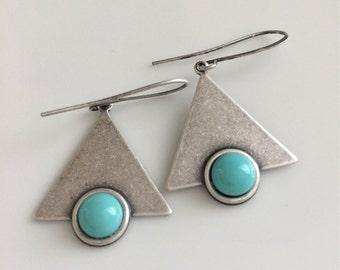 Geometric Triangle Earrings  Turquoise Glass Earrings  Modern Look  Oxidized Silver Earrings  Boho  Gypsy Dangles
