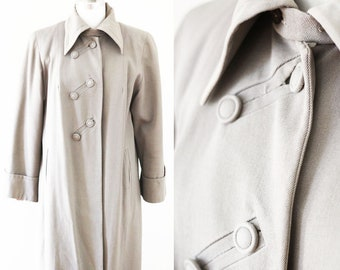 1940s brown swing coat // 1940s long jacket // vintage coat