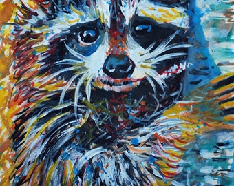 Blue Raccoon Watercolor, Art Print, 11x14, 8x10, Colorful, Whimsical