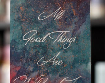 Aller guten Dinge sind Wild und Freihand bemalt Postkarte