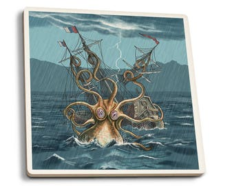 Kraken Attacking Ship - LP Artwork (Set of 4 Ceramic Coasters)