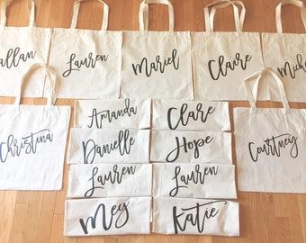Personalized Bridal Tote Bag | Personalized Tote Bag Bridesmaid | Bridesmaid Totes Set of 5, 6, 7, 8, Custom | First Name Last Name Monogram