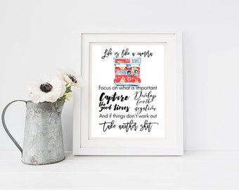 Life is like a camera quote print, Wedding photographer gift, Present for art students, Inspirational quote for photographers, red camera