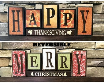 Reversible Christmas and Thanksgiving wood blocks-(muted)Happy Thanksgiving