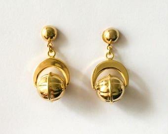 Vintage 1970's Gold Kitsch Rotating Globe Sphere Dangle Drop Statement Earrings