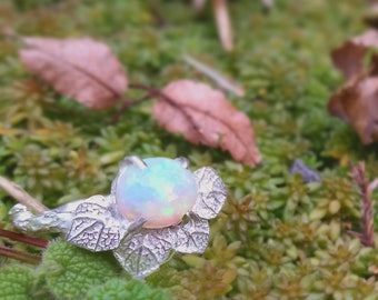 Opal silver ring Gemstone twig ring Nature jewelry Nature inspired ring