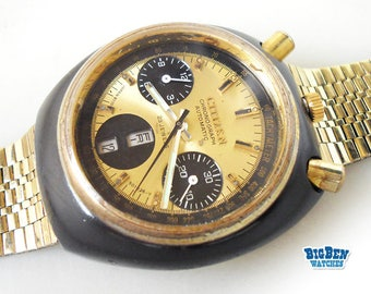 Vintage Gold CITIZEN CHRONOGRAPH BULLHEAD 8110A Flyback Watch