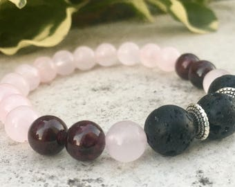 Rose Quartz, Garnet Gemstone And Lava Diffuser Bracelet, Aromatherapy Jewelry, Chakra jewelry, Healing Properties, Natural Remedy