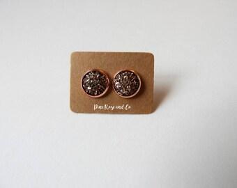 Rose Gold Druzy Studs//10mm//Minimalist//Boho