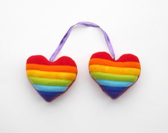 Rainbow heart pair plush ornament, gift, anniversary gift, rearview mirror hanging, LGBTQ, love
