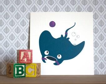 Ray the sporty manta ray, Print/Card 15x15cm