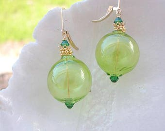 Murano Green  Blown Glass Earrings
