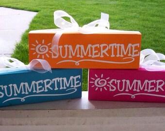 Summer wood block--Summertime, summer decor