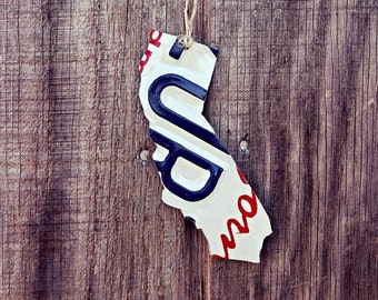 "Upcycled California License Plate ""State of California"" Ornament"