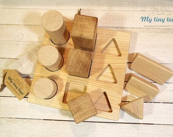 Montessori Wooden Toy - Sorter. 3 different shapes in three different lengths. Educational toy. Natural eco-friendly baby toy. Infant toy