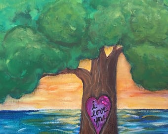Tree painting, Heart Engraved in Tree, I Love You Art, Anniversary Gift, Tree by the Sea, Tree Lake Painting, 11x14 Canvas Original Painting