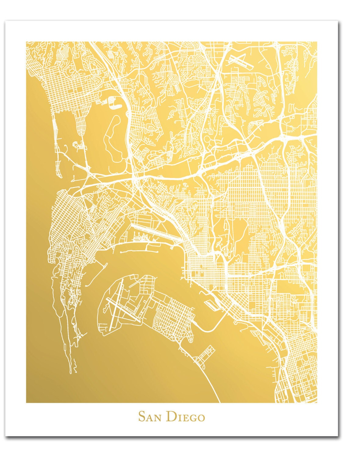 San Diego Map Gold Foil Map of San Diego Gold Foil Print Map