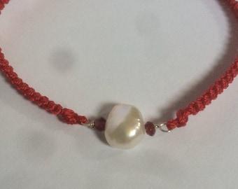 January birthstone bracelet, Pearl and garnet macrame bracelet, adjustable, red, birthstone jewellery