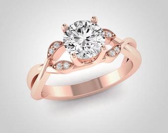 Forever One Moissanite Engagement Ring, Rose Gold Engagement Ring, Solitaire Engagement Ring, Leaf Wedding Ring