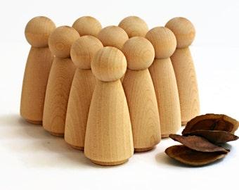 10 x Large Wooden PEG DOLLS Bulk 'Mama' style Angels / Wedding cake toppers Blank Natural - Lady peg dolls > wood craft supplies Australia