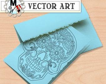 Sugar Skull Vector Art - Skull Digital Stamp - Day of the Dead Clip Art - Sugar Skull Art Print - Dia de los Muertos Vector Graphic