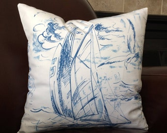 Nautical Pillow, Blue White Sail Boat Sailing Throw Pillow Cushion Cover Decorative Zippered Coastal Pillows Boating Decor Accent Pillow