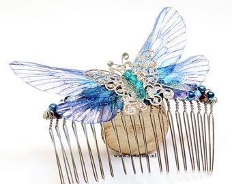 Blue fairy hair comb butterfly, blue fairy hair accessory, butterfly hair accessory faerie, enchanted fairy hairpiece, fairy hair jewelry