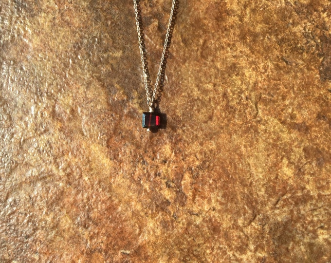 Almond Garnet Necklace on Sterling Silver