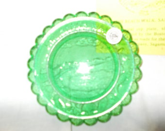 The Beach Walk Pairpoint Glass Cup Plate Sandwich MA Historical Society Number 4  Emerald Green Glass Plate Collector Plate 1983 RARE