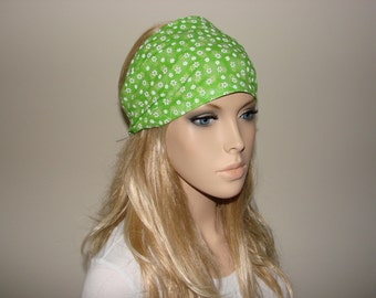 Green Floral Head Scarf, Daisies Wide Woman Headband, Turban Headband, Yoga Headband, Woman tribal boho head wrap, bandana headband