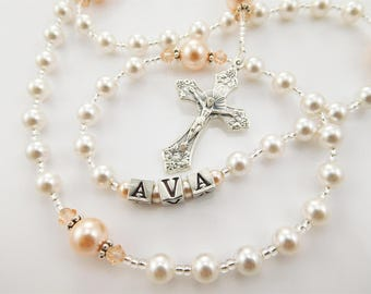 Personalized Swarovski Rosary for a Girl - White and Peach - Baptism, First Communion, Confirmation