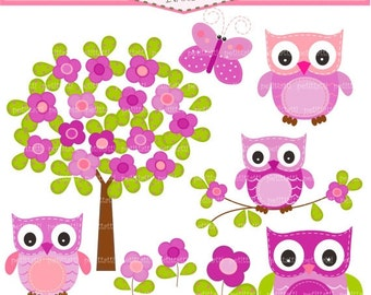 ON SALE Owl clip art, lilac purple owl clip art, purple flowers tree clip art, Owl and flowers tree clip art, instant download