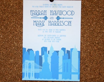 Set of 25 / Custom New York City Skyline Invitation / Blue / Wedding / Event / Birthday / Bachelorette Party
