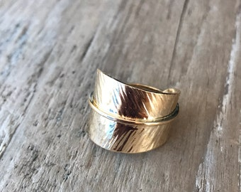 14K gold plated sterling Feather Wrap Ring, Small