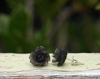 Black Rose Stud Earrings. Frosted Rosette Earrings on Sterling Silver Posts. Bohemian. Gothic