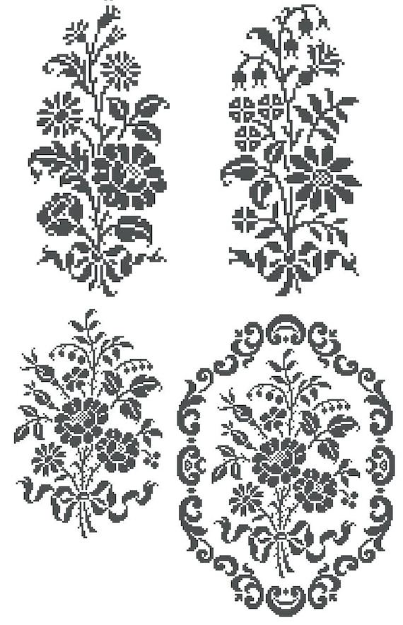 Monochrome flowers cross stitch or filet crochet pattern